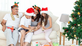 Family during Christmas day Royalty Free Stock Photography
