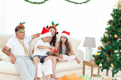 Family during Christmas day looking Royalty Free Stock Photography