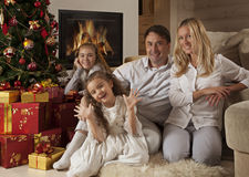 Family On Christmas Day Stock Images
