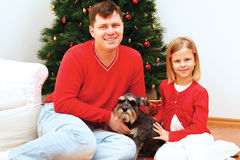Family on Christmas day sitting around the Christmas tree Royalty Free Stock Photography