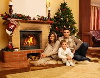 Family in Christmas decorated house Royalty Free Stock Photo