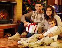 Family in Christmas decorated house Royalty Free Stock Photography