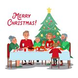 Family Christmas Dinner with Grandparents. Happy Family Celebrating New Year. Winter Holidays. Vector illustration Stock Image