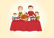 Family christmas dinner. Christmas vector illustration. Christmas meal. Holiday background. Christmas card illustration. Festive Christmas card. Christmas Stock Photos