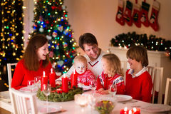 Family at Christmas dinner at home Royalty Free Stock Images