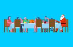 Family Christmas dinner and Santa. Big table. Red caps. holiday royalty free illustration