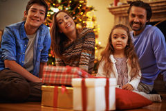 Family on Christmas eve Royalty Free Stock Photo