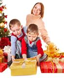 Family with Christmas gift box. Stock Image