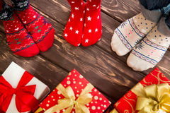 Family with Christmas gifts Royalty Free Stock Image
