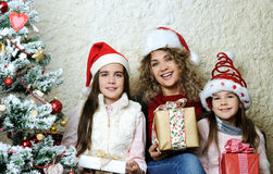 Family with Christmas gifts Stock Image