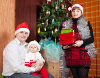 Family in christmas hats Royalty Free Stock Photos