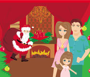 Family Christmas at home. Illustration Royalty Free Stock Photography