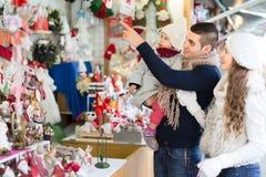 Family at a christmas market. Stock Photos