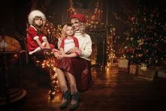 Family at christmas royalty free stock photos