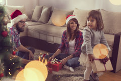 Family on a Christmas morning Royalty Free Stock Photos