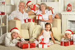 Family with christmas presents Stock Photo