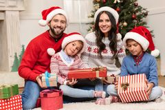Family with christmas presents Royalty Free Stock Photography