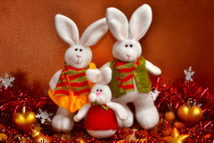 The family of christmas rabbits Stock Photo
