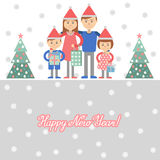 Family with Christmas shopping. Vector illustration of mom dad children ahd gifts in hand. Royalty Free Stock Image
