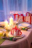 Family Christmas table setting with white decoration Royalty Free Stock Images