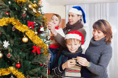 Family at Christmas time Stock Photography