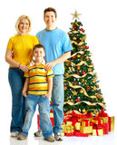 Family and a Christmas Tree Stock Images