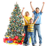 Family and a Christmas Tree Stock Photography
