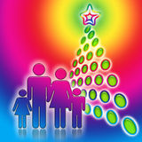 Family Christmas Tree. Happy family near the bright abstract geometric christmas tree, decorative colorful illustration Royalty Free Stock Photos