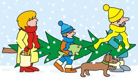 Family and christmas tree. Mother, father and son bear Christmas tree and Christmas carp Royalty Free Stock Images
