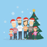 Family with christmas tree. vector illustration