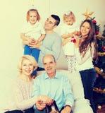 Family at the Christmas Tree Stock Photos