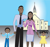 Family at Church1. A beautiful family of 4 showing their love and happiness for each other after church Royalty Free Stock Images