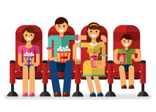 Family in the cinema. Vector flat style illustration of happy family in the cinema with popcorn and soda watching movie. People, family in the cinema concept Royalty Free Stock Images