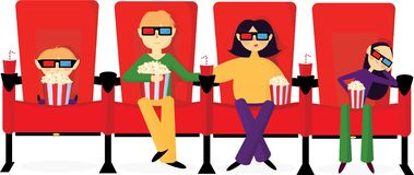 Family in cinema watching movie royalty free illustration