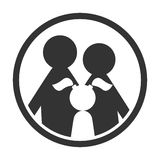 Family in circle black and white simple icon Stock Photos