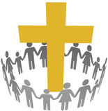 Family Circle Christian Community Cross. Gold cross inside a community or congregation circle of families vector illustration