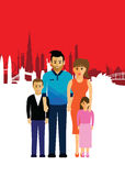 Family on a cityscape background Royalty Free Stock Photo