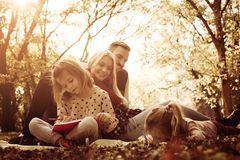 Family class in nature. Cheerful family playing in park royalty free stock images