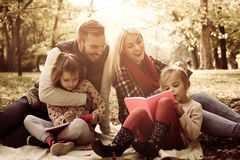 Family class in nature. Happy family together in park stock photos