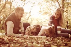 Family class in nature. Family playing in autumn day royalty free stock photos
