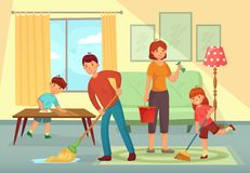 Family cleaning house. Father, mother and kids cleaning living room together housework cartoon vector illustration. Family cleaning house. Father, mother and royalty free illustration