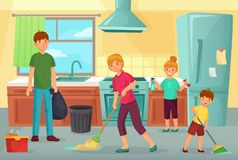 Family cleaning kitchen. Father, mother and kids clean cuisine together household dusting and wiping floor cartoon. Family cleaning kitchen. Father, mother and vector illustration