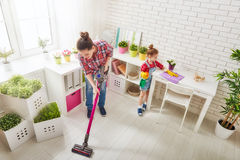 Family cleans the room Stock Photos