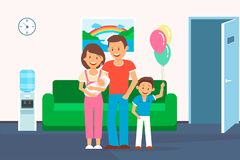 Family in Clinic Room Flat Vector Illustration royalty free illustration