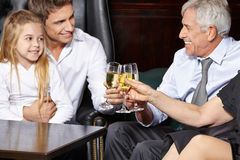 Family clinking glasses Stock Images