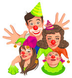Family of clowns. Dad, Mom, Daughter, Son Royalty Free Stock Photo