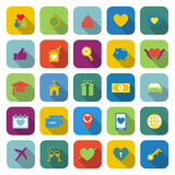 Family color icons with long shadow Stock Photos