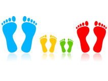Family (colored feet). On white background Royalty Free Stock Images