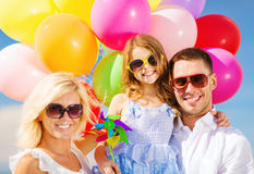 Family with colorful balloons Stock Photography