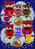 A family of colorful, bright, lovely cartoon owls on the branches of flowering trees. Moms, dads, children. Card. A family of colorful, bright, lovely cartoon vector illustration